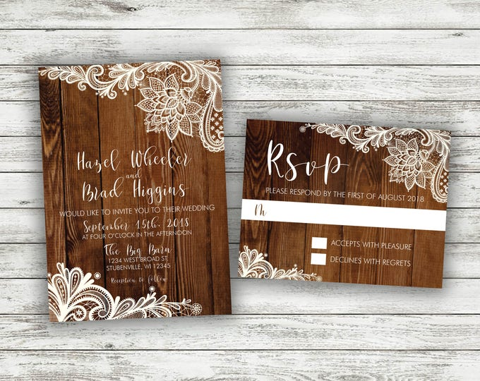 Country Lace Wedding Invitations Set, Rustic Lace Wedding Invitation, Burlap, Kraft, Wood, Lights, Outside, Southern Wedding Invite, Barn
