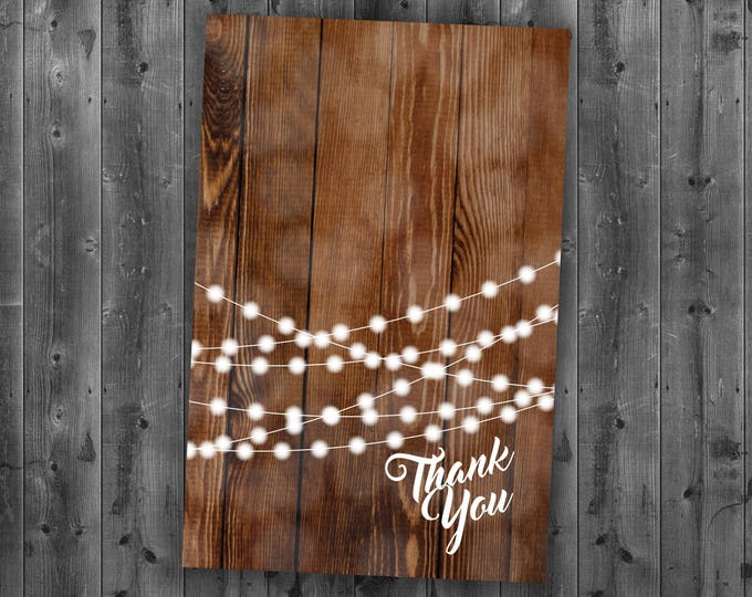 Rustic Wedding Thank You, Burlap, Kraft, Wood, Country Wedding Invitation, Affordable, Woodsy, Lights, Summer, Southern, String Lights