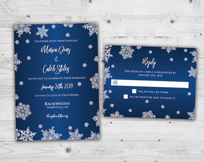 Winter Wedding Invitations, Snowflake Wedding Invitations, Snow Fall Wedding Invitations, Navy & White