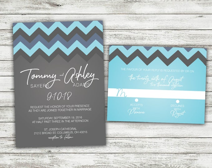 Chevron Pattern Wedding Invitations Set Printed, Bohemian, Classy Invites, Shabby Chic, Watercolor, Arrow, Marsala, Boho, Blue and Gray