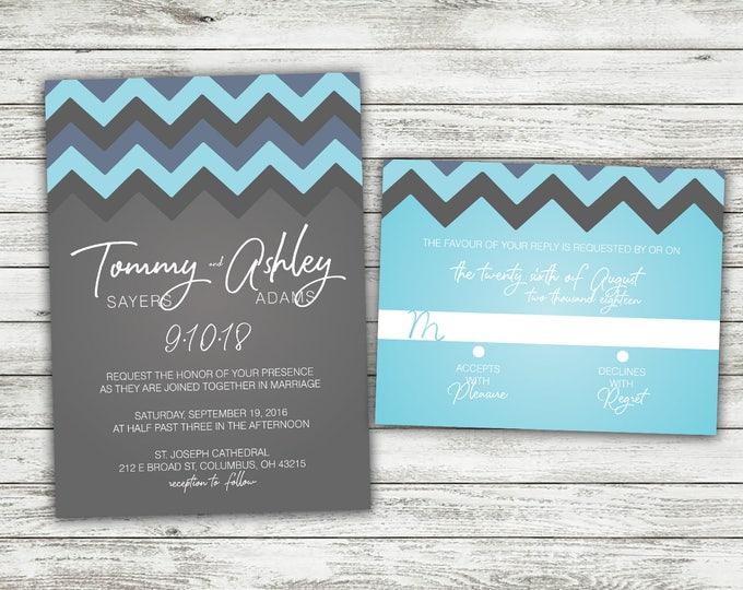 Chevron Pattern Wedding Invitations Set Printed, Bohemian, Classy Invites, Shabby Chic, Watercolor, Arrow, Marsala, Boho, Blue and Gray