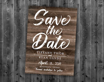 rustic save the date etsy