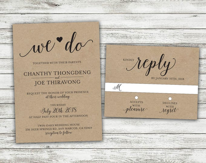 We Do Country Wedding Invitations Set Printed, Rustic Wedding Invitation, Burlap, Kraft, Wood, Outside, Southern Wedding Invitations, Heart