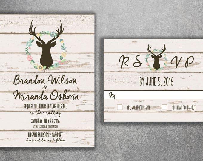 Boho Chic Wedding Invitations, Bohemian Wedding Invitation, Wood, Deer, Spring, Buck, Deer Rack, Hunter, Boho, Flower Wreath, Print, Shabby