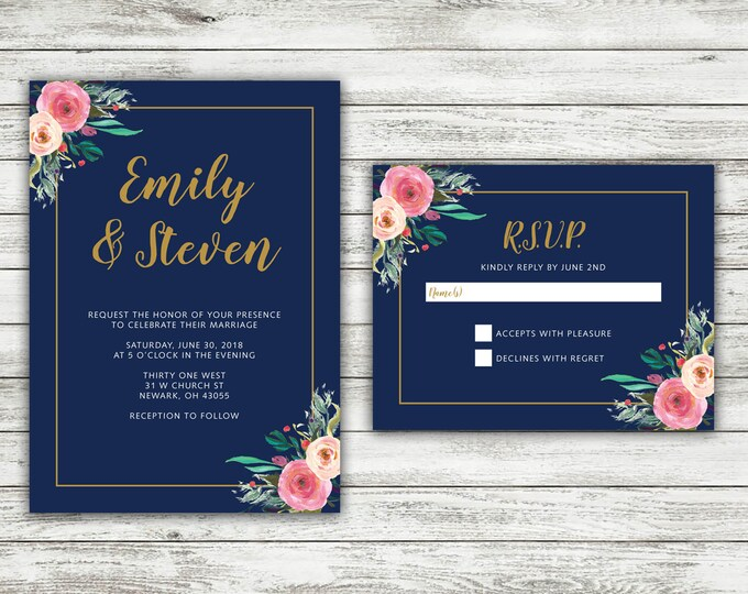 Navy and Floral Wedding Invitations Set Printed, Rustic Wedding Invitation, Outside, Southern. Gold