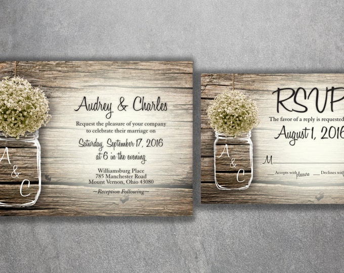 MASON JAR Baby's Breath Flowers Rustic Wedding Invitation Set Printed, Cheap Wedding Invitations, Unique, Custom Invitations, Affordable