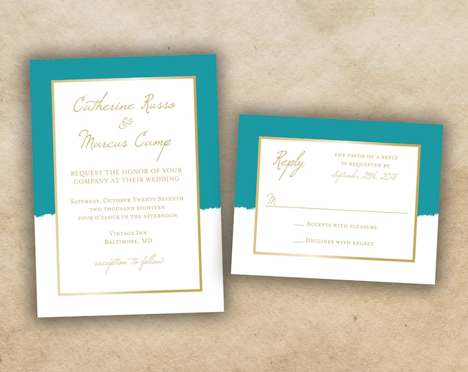 Simple Wedding Invitations Set Printed, Affordable Wedding Invitations, Elegant, Gold