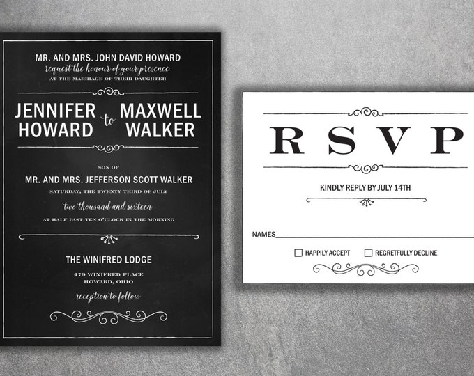 Chalkboard Wedding Invitation, Wedding Invitation, Blackboard Wedding Invitation, Rustic, Black and White Wedding Invitations, Vintage, BW