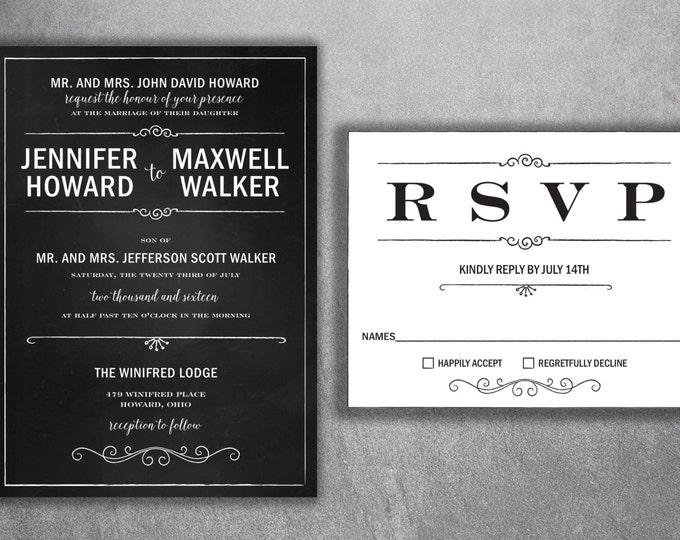 Chalkboard Wedding Invitation, Wedding Invitation, Blackboard Wedding Invitation, Rustic, Black and White Wedding Invitations, Vintage, BW
