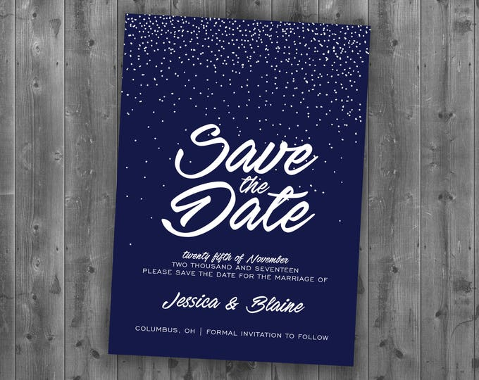 Winter Snow Wedding Save the Date Printed - Snow, Navy, Elegant, Cheap, White, Affordable, December, January, Christmas