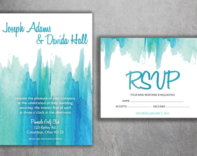 Watercolor Wedding Invitations Set Printed - Cheap Wedding Invitations, Affordable Wedding Invitations, Unique, Announcements, Custom Design