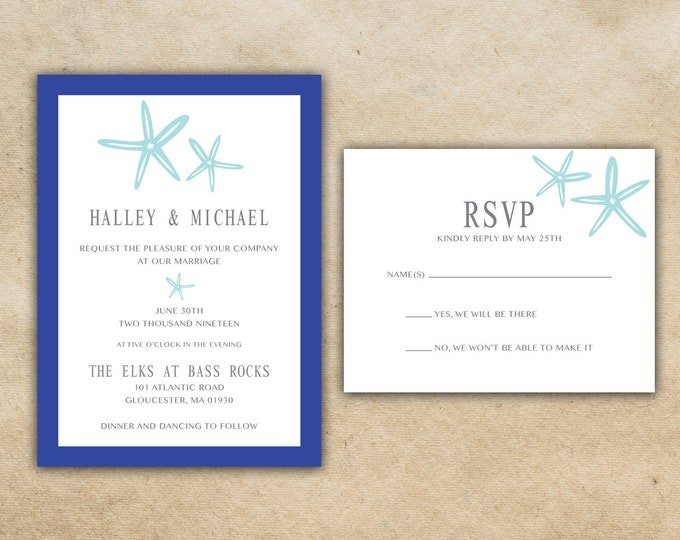 Starfish Wedding Invitations Set Printed - Beach Wedding Invitations, Affordable, Blue, Ocean, Costal