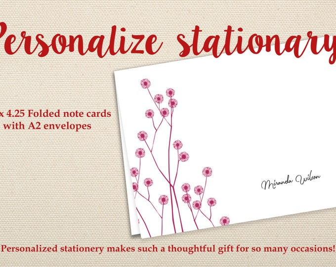 Personalized Stationary, Bridesmaid Gift, Personalized Note Cards, Thank You Note Cards, Custom Stationery, Stationery Set, Calligraphy CS02