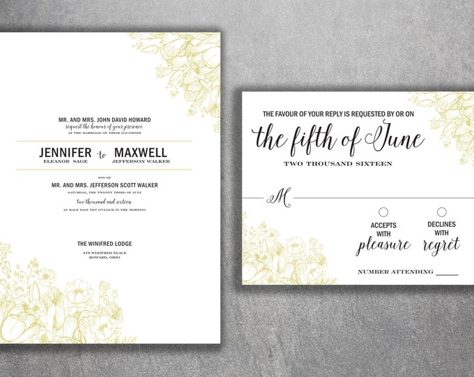 Vintage Floral Wedding Invitations Set Printed - Country Floral Wedding Invitations, Vintage, Floral, Boho, Affordable, Cheap, Shabby Chic