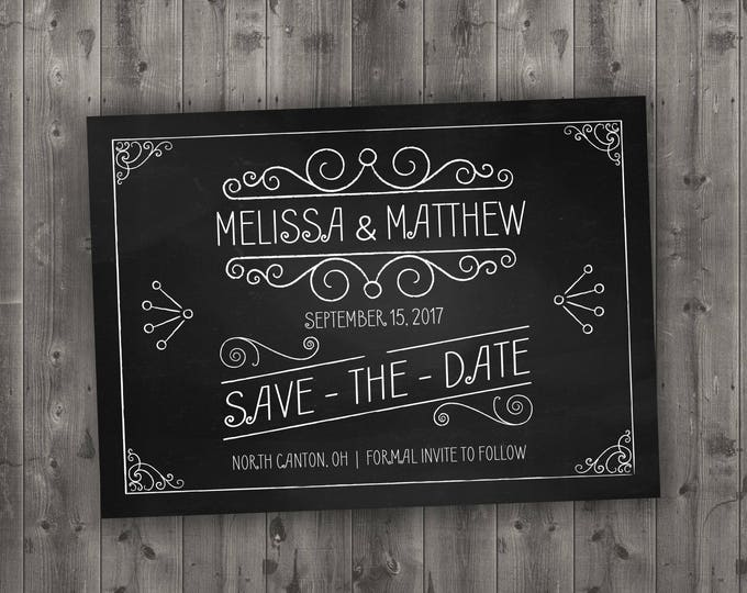 Chalkboard Save the Date Printed - Black and White, Chalk, Board, Chalkboard,