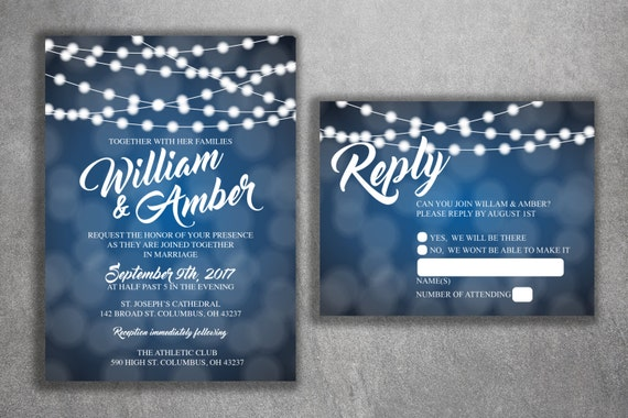 Blue And White Lights Wedding Invitations Set Printed Cheap Etsy