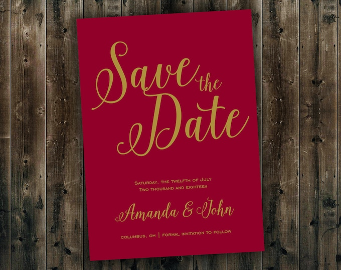 Save the Date Cards Printed  - Gold and Burgundy Wedding Save the Date, Cheap, Affordable, Sparkly, Elegant, Postcard, Wedding Invitations