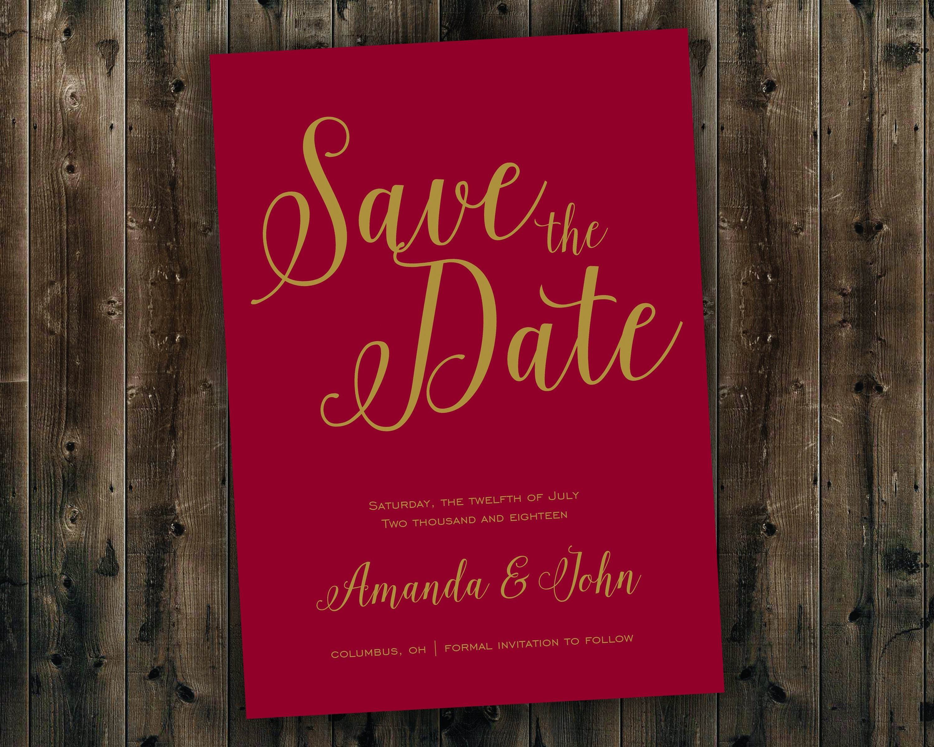 Save the Date Cards Printed - Gold and Burgundy Wedding Save the ...