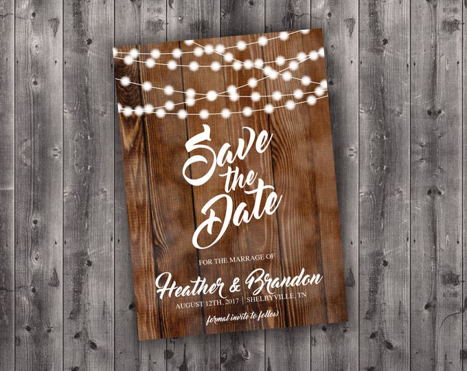 Rustic Save the Date Cards, Save The Date Postcard, Lights, Wood, Country Save the Date, Engagement Card, Country Wedding Save The Date Card