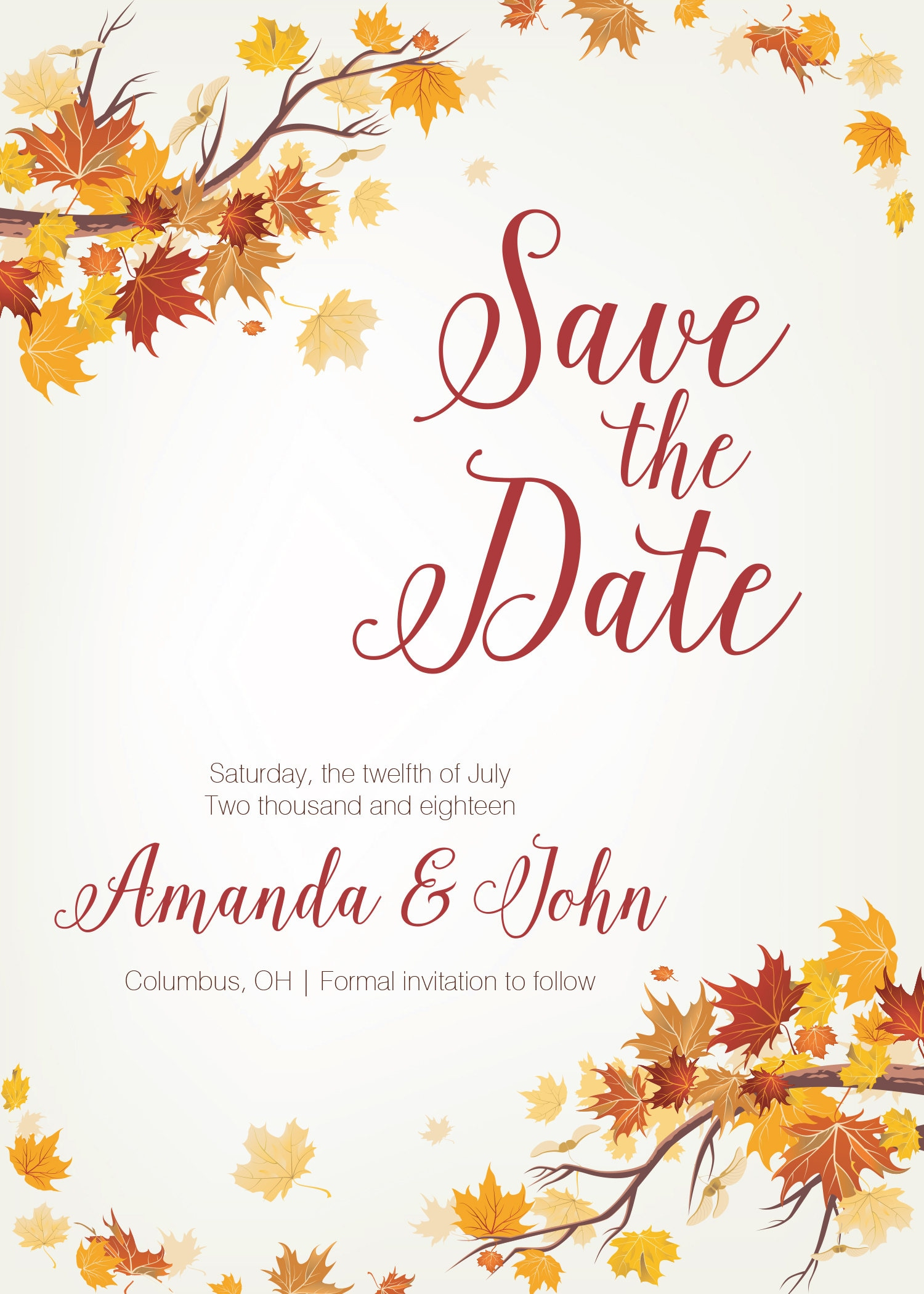autumn save the date cards fall save the date postcards leaves