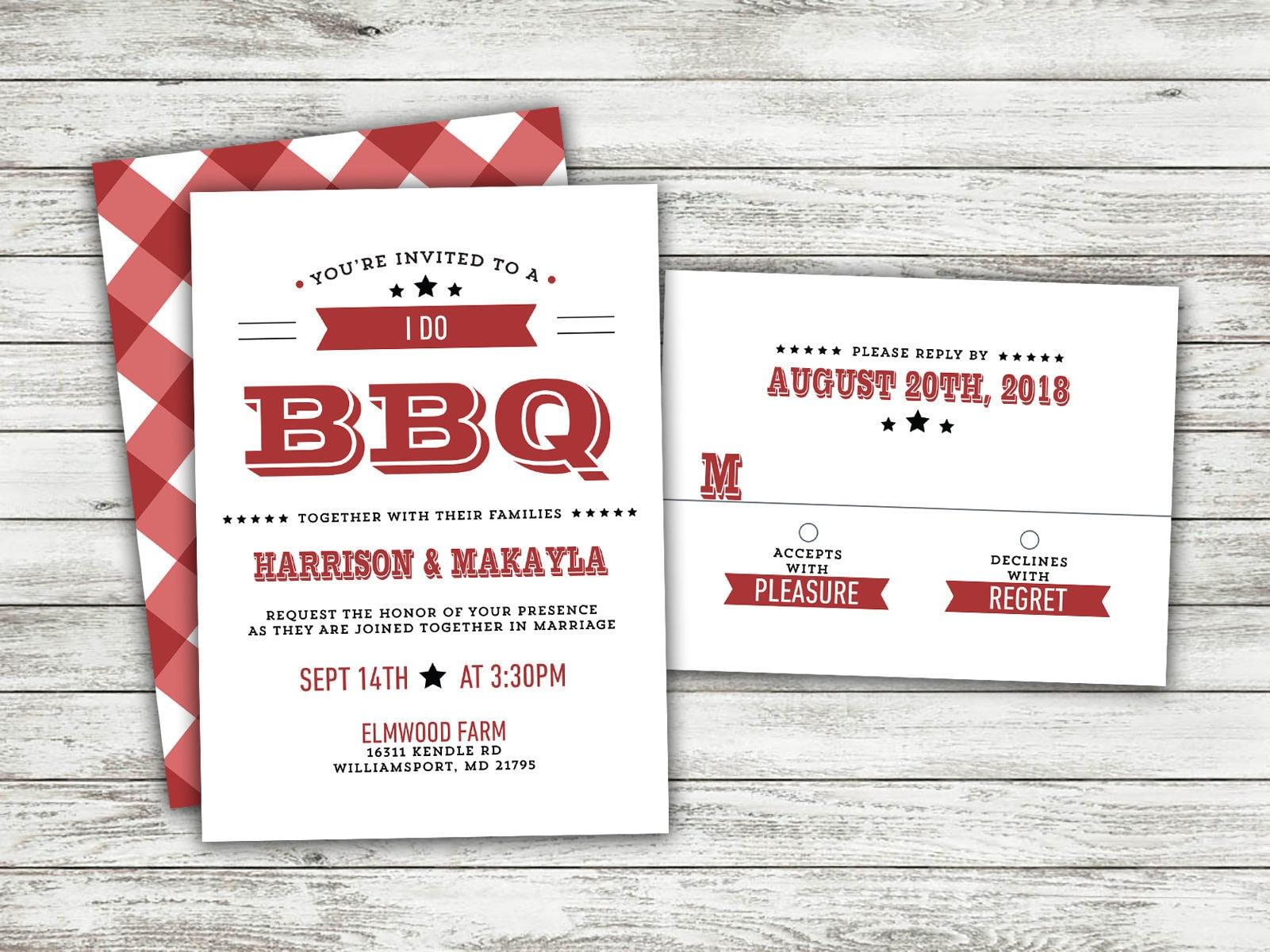 Rustic Wedding Invitation Country Wedding Invitations I Do Bbq