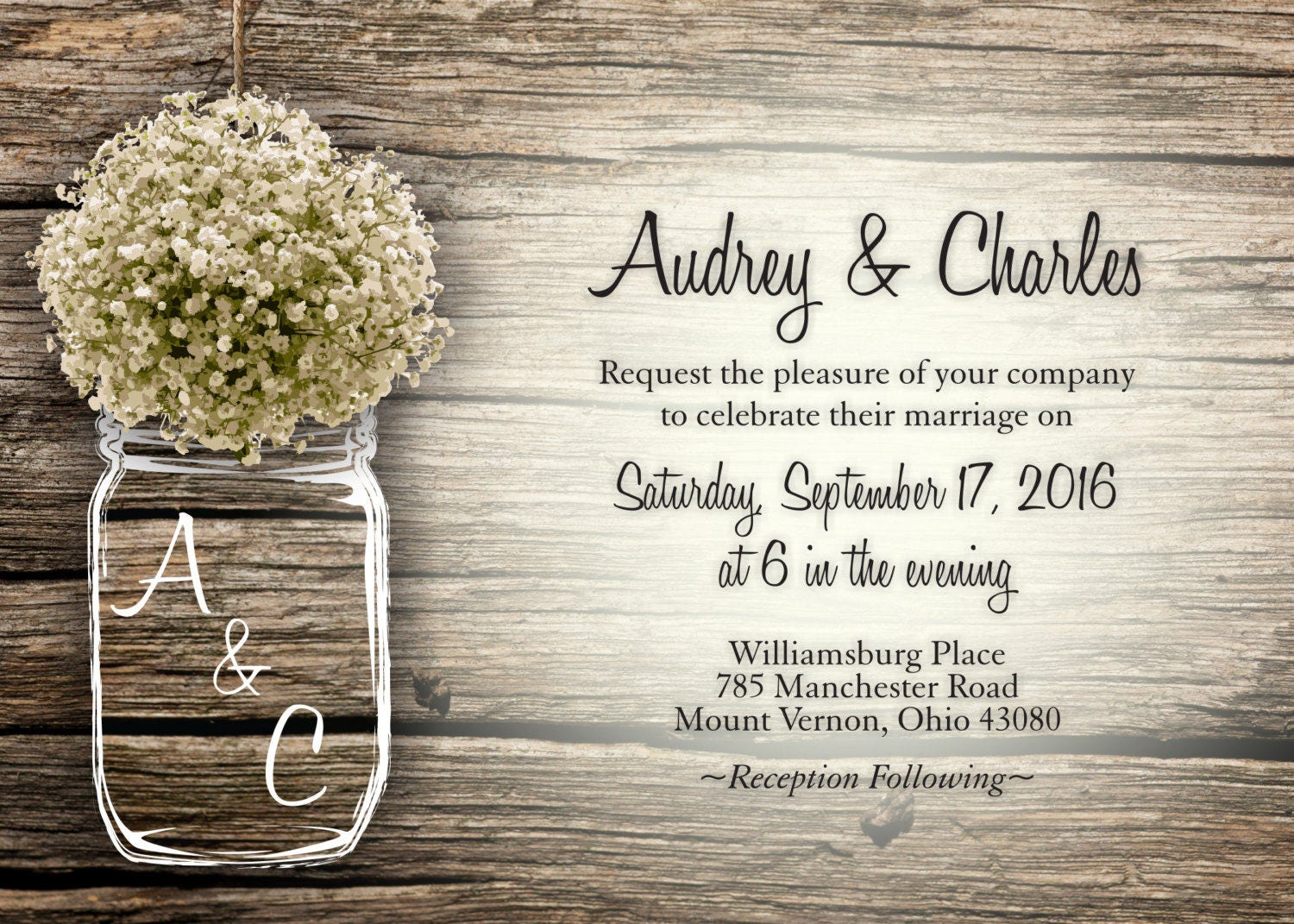 Mason Jar Wedding Invitation, Rustic Wedding Invitations, Baby\'s ...
