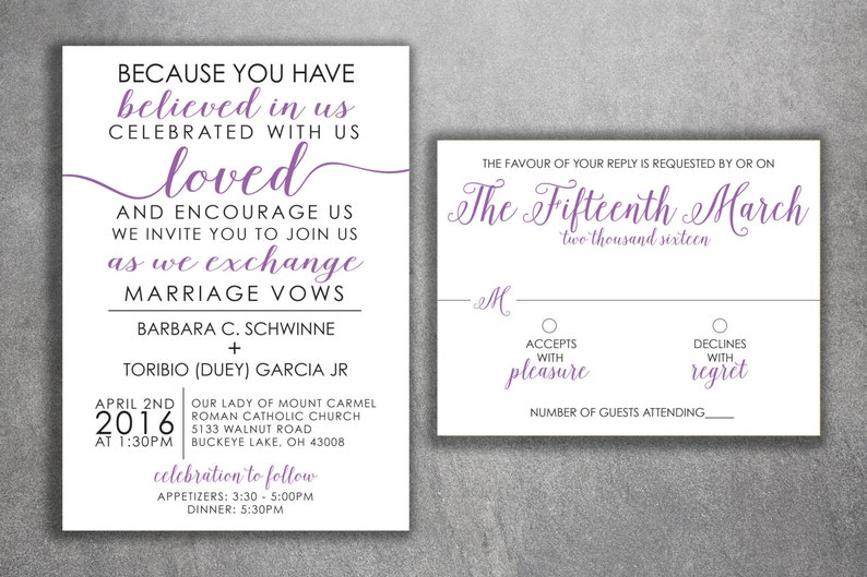 Affordable Wedding Invitations.Affordable Wedding Invitations Set Printed Cheap Wedding Invitations Unique Purple And Black Custom Modern Elegant