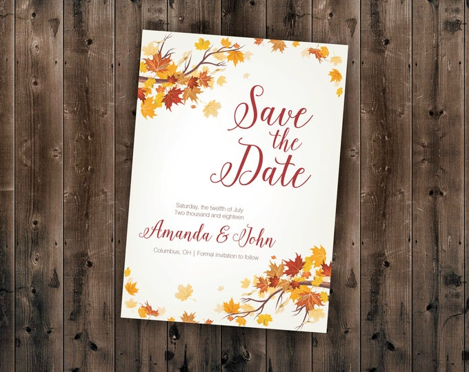 Autumn Save the Date Cards, Fall Save the Date Postcards, Leaves Wedding Invitations, Woods Rustic Tree, Outdoors, Affordable, Save the Date