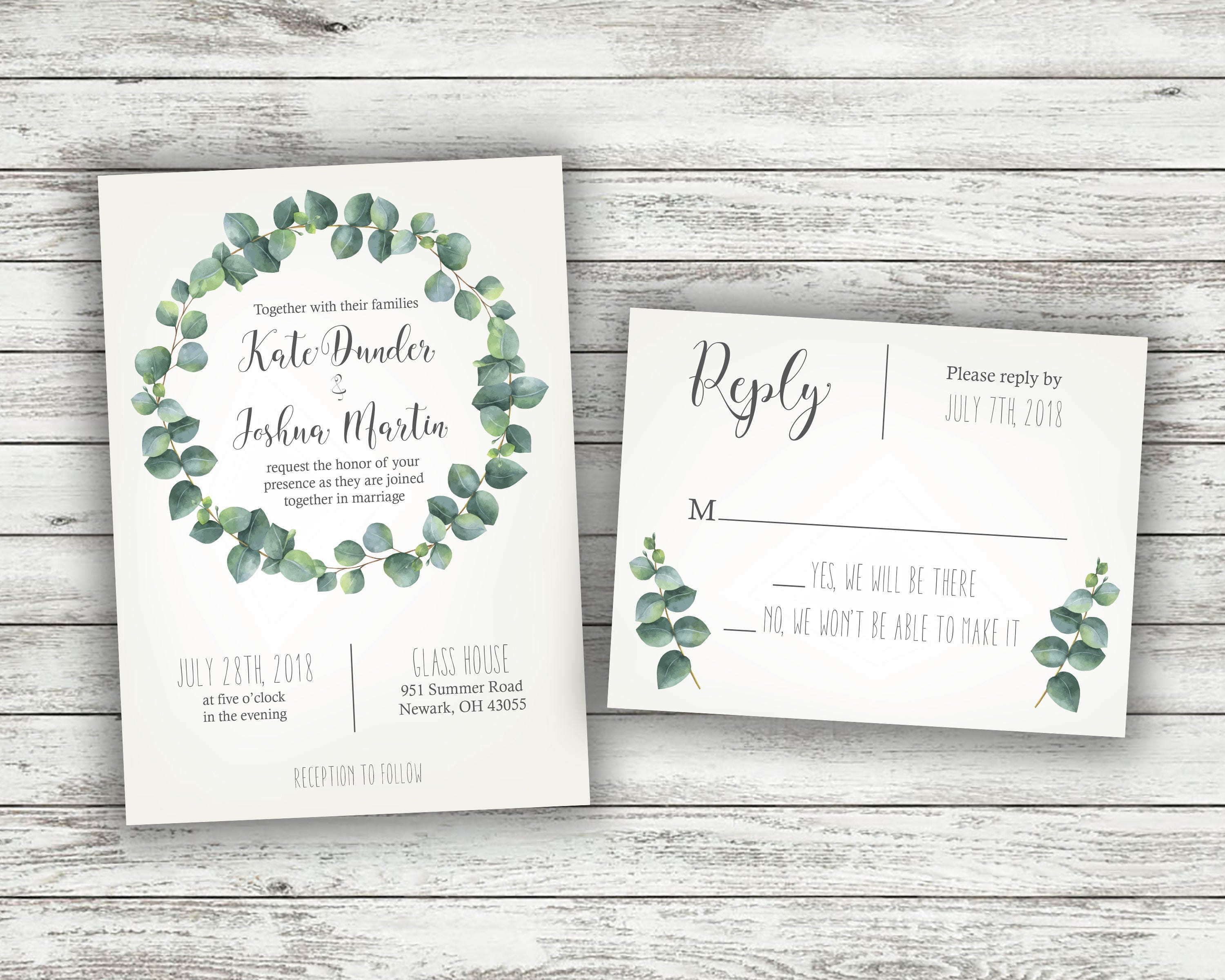 Green and White Fern Wedding Invitations, Greenery Wedding ...