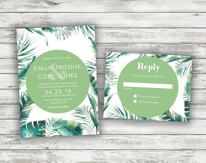 Green and White Fern Wedding Invitations, Greenery Wedding Invitation, Green, Vintage, Leaves, Classic, Tropical Wedding Invitation, Leaf