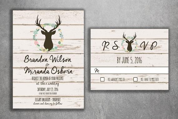 Deer Wedding Invitation Country Wedding Invitations Rustic Etsy