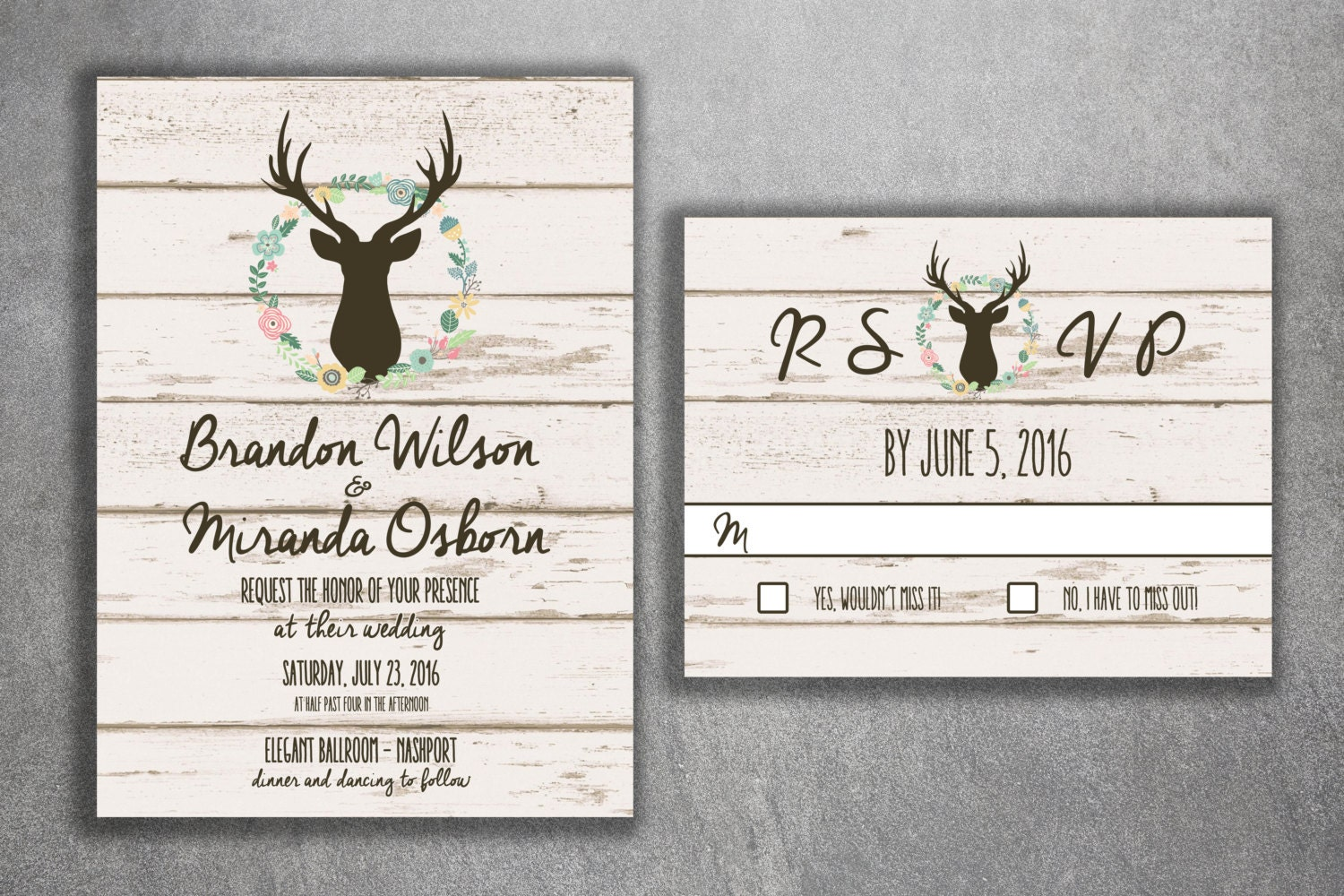 Deer Wedding Invitation, Country Wedding Invitations, Rustic Wedding ...