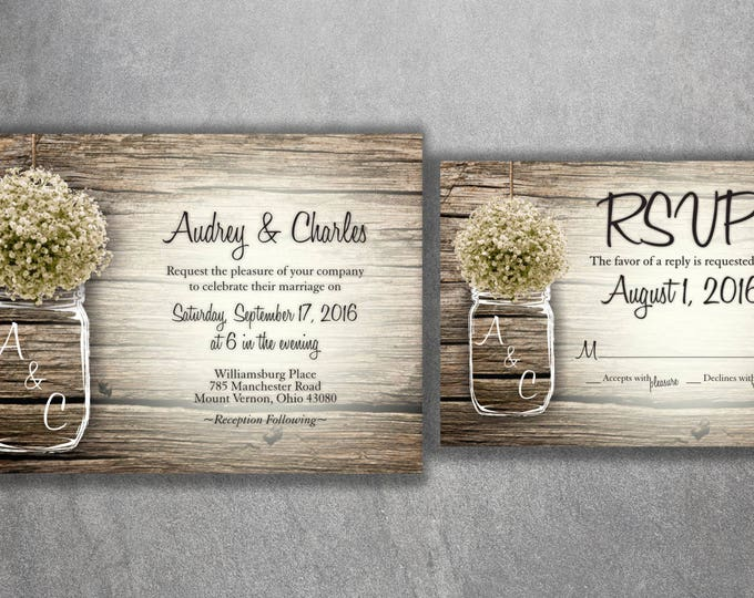 Mason Jar Wedding Invitation, Rustic Wedding Invitations, Baby's Breath, Country Wedding Invitations, Affordable, Barn Wood, Wedding Card