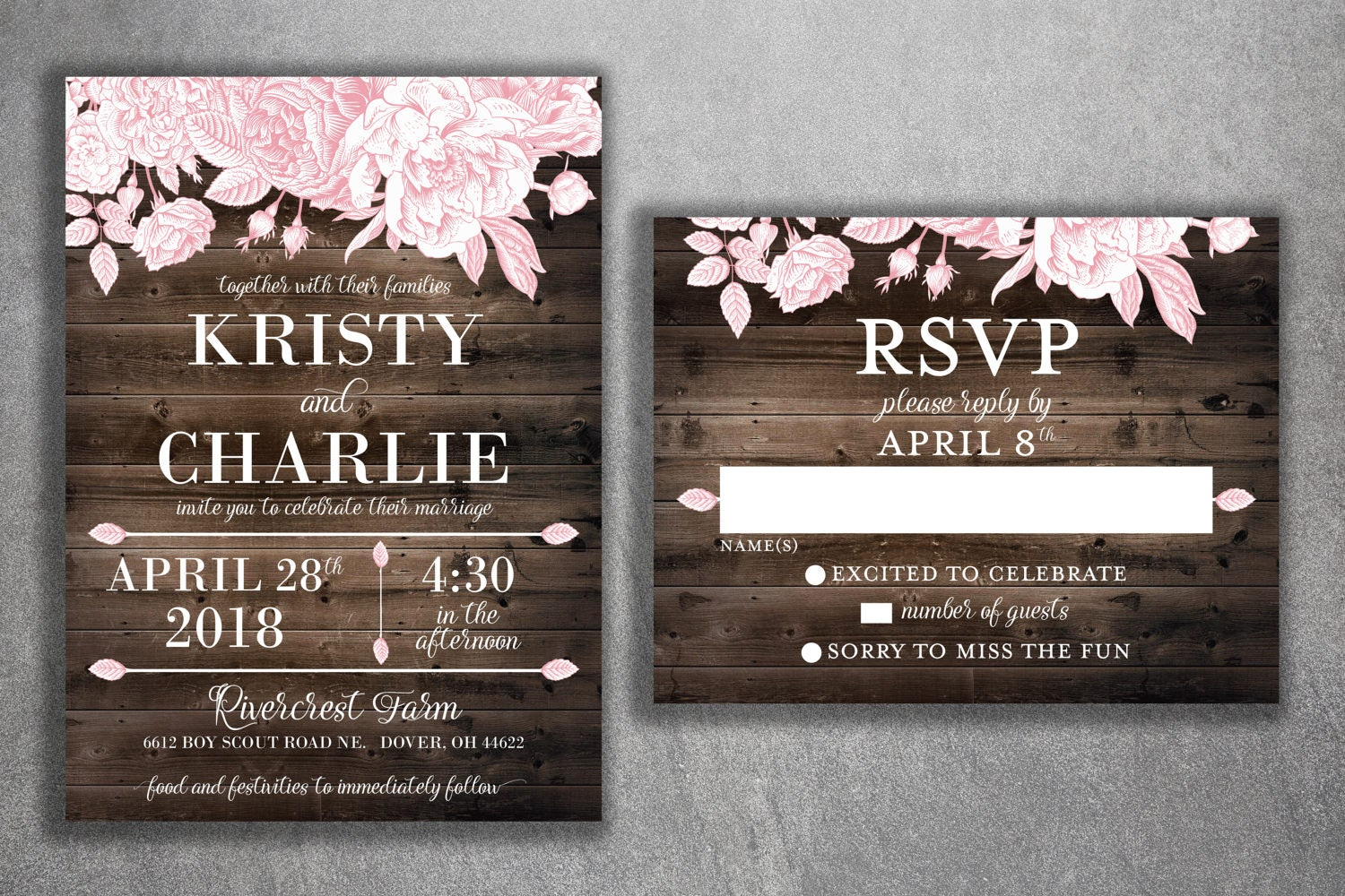 Rustic Floral Barn Wood Wedding Invitations Set Printed Country Invitation Southern Flowers: Rustic Wood Floral Wedding Invitations At Reisefeber.org