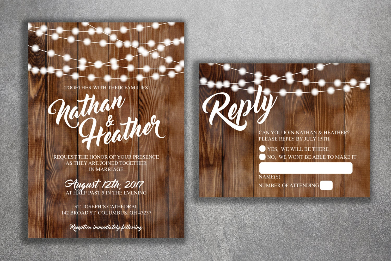 Rustic Wedding Invitations, Burlap, Kraft, Wood, Country Wedding Invitation,  Affordable, Woodsy, Lights, Summer, Southern, Wedding Invite