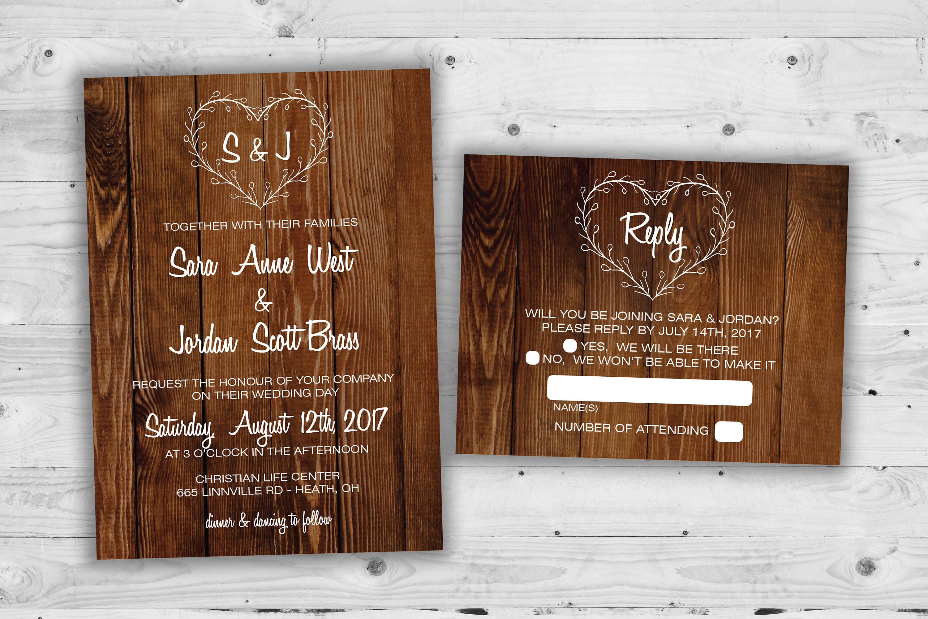 country heart wedding invitations set printed rustic wedding
