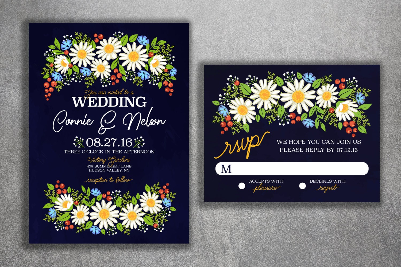 Daisy Wedding Invitation Wild Flower Wedding Invitations Wedding