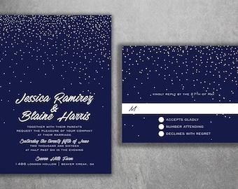 Snowflake Wedding Invitations, Snow Fall Wedding Invitations, Stars, Navy & White, Winter Wedding Invitations, Lights, Wedding Invitation