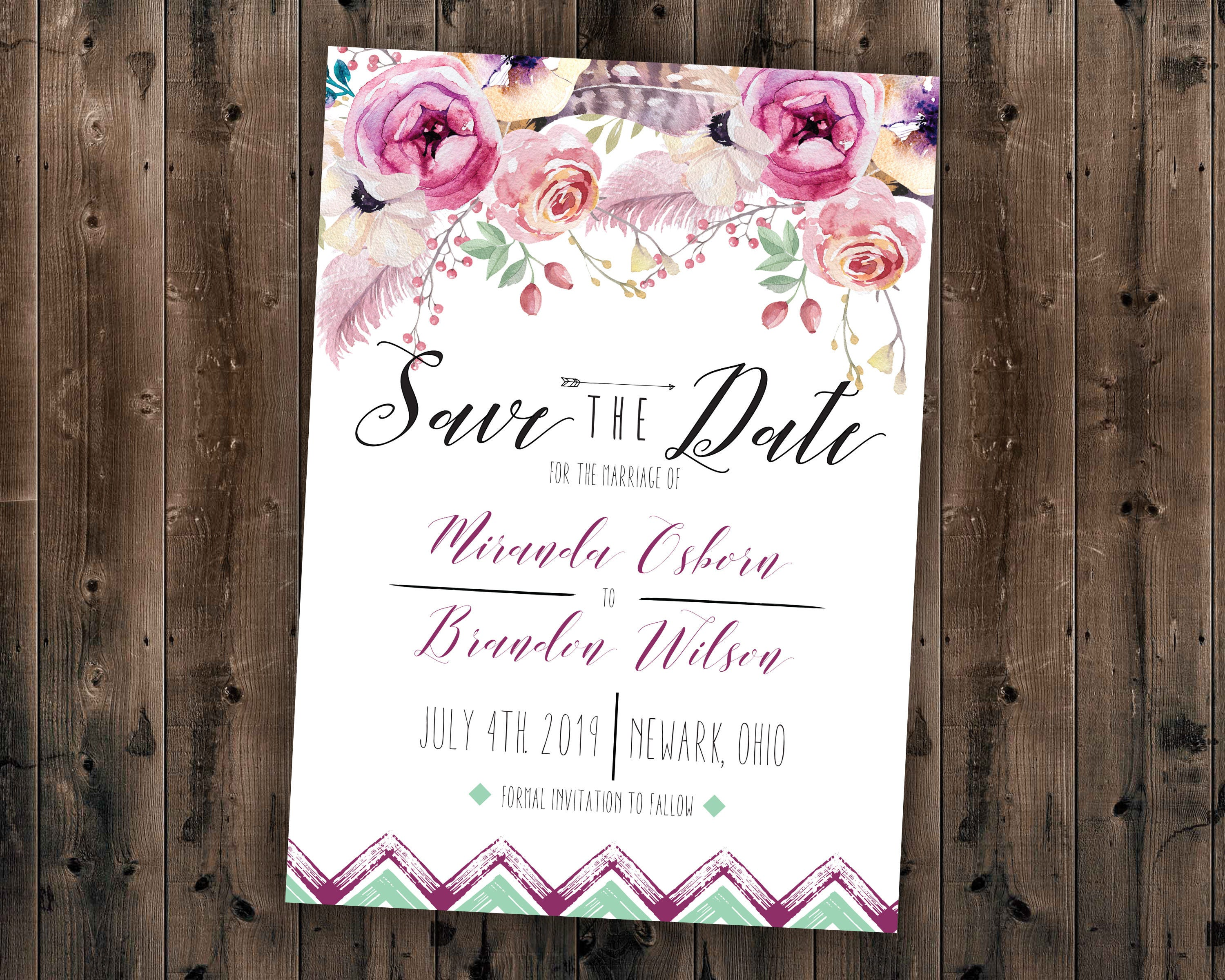 Boho Save the Date Cards, Bohemian Wedding Save the Date, Boho ...
