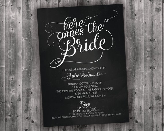 Chalkboard bridal shower invitations printed black white etsy image 0 filmwisefo