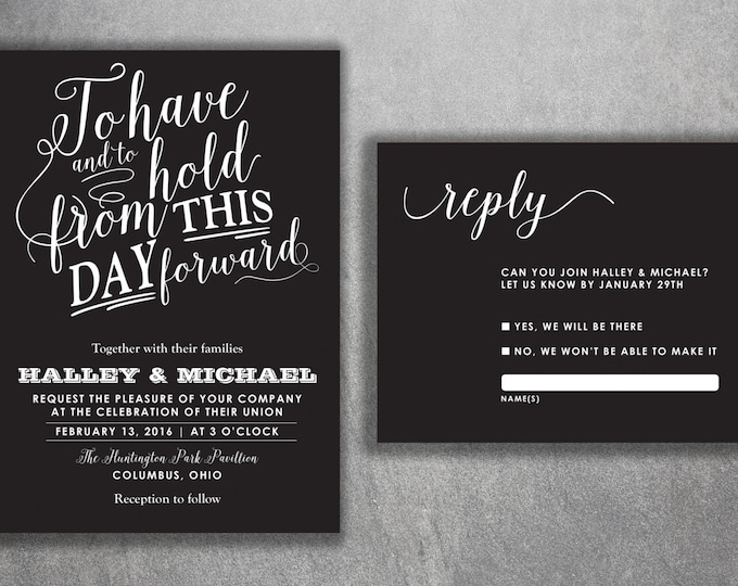 Chalkboard Wedding Invitations Set, Vintage Wedding Invitations, Rustic Wedding Invitation, Vintage, Black and White, Country, Modern