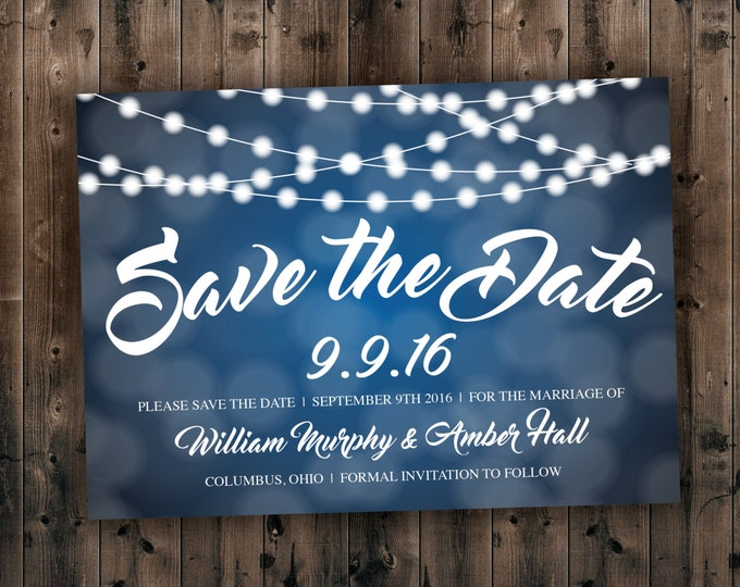 Blue and White Lights Save the Date Cards Printed with Envelopes - Cheap, Affordable, Lights, Sparkly, Elegant, Rustic, Country, Postcard