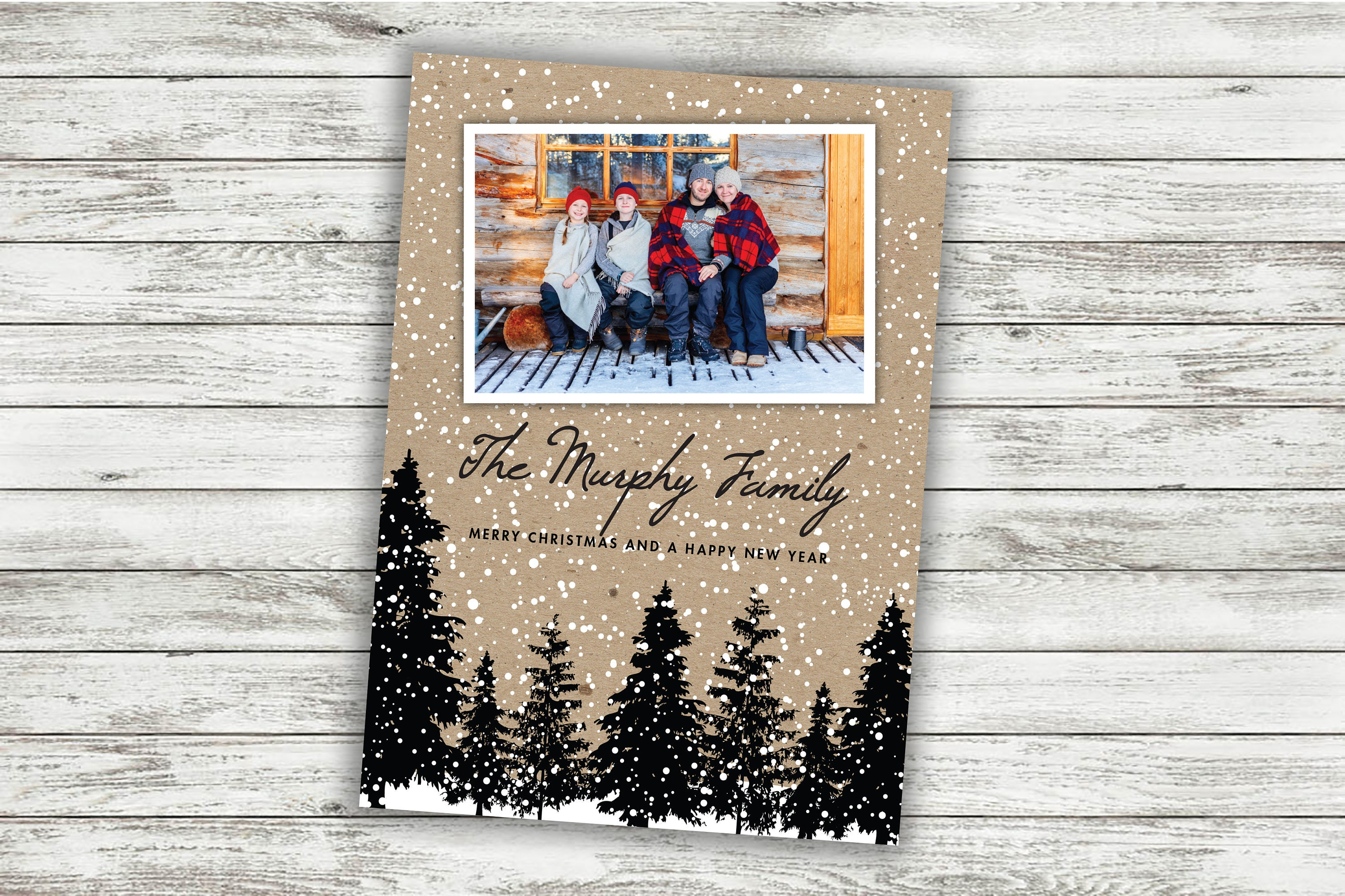 Rustic Christmas Card, Family Christmas Card, Photo Christmas Card ...