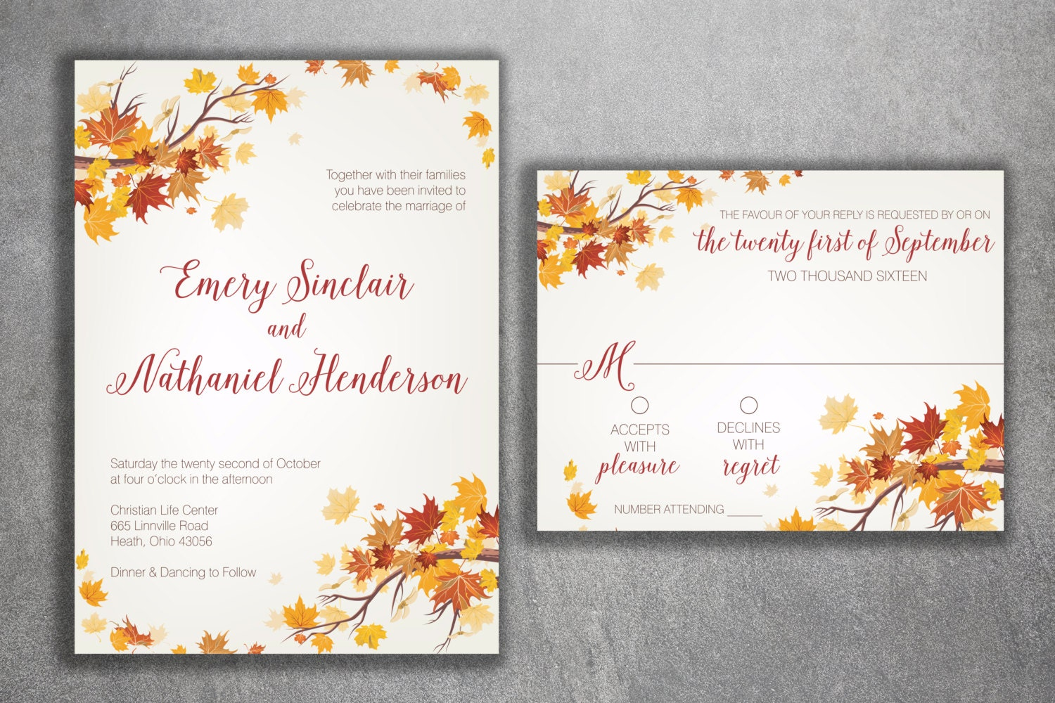Autumn Wedding Invitation Fall Wedding Invitation