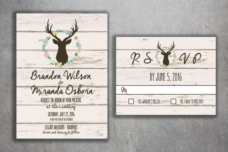 Rustic Country Wedding Invitations Set Printed Burlap, Wood, Deer ...