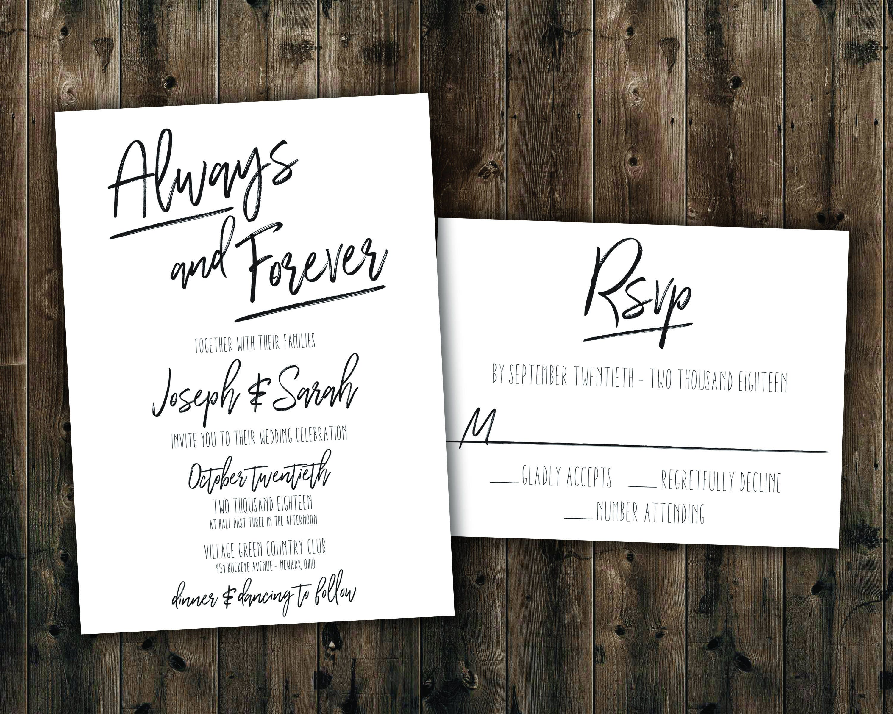 Simple Black and White Wedding Invitations Set Printed Always and
