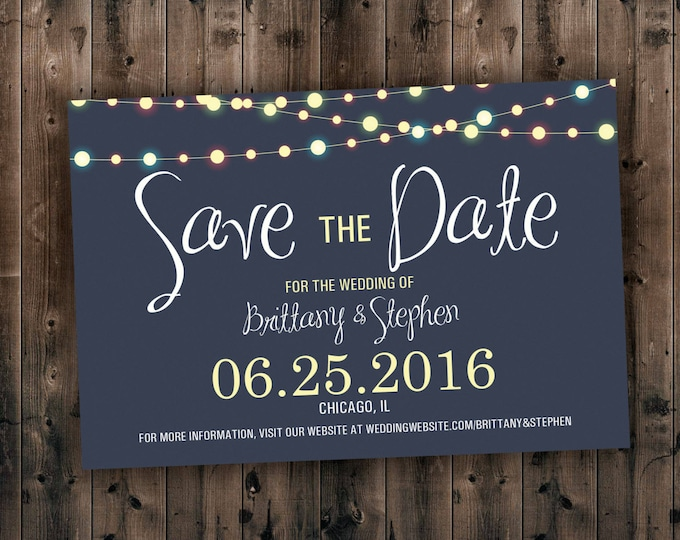 Save the Date Cards, Save the Dates, Lights Wedding Invitations, Invites, Custom, Night, Blue, Engagement Save the Date, Photo Postcard
