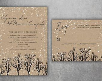 Winter Wedding Invitations, Snow Wedding Invitation, Woodsy, Rustic, Tree, Woods, Kraft, December, January, Christmas Themed Invites, Rustic