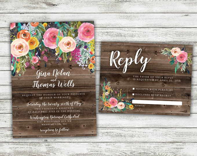 BOHO Country Wedding Invitation, Rustic Floral Wedding Invitation, Flowers, Bohemian Wedding Invitation, Shabby Chic Wedding, Barn Wood