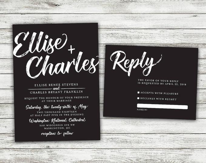 Chalkboard Wedding Invitation, Wedding Invitation, Blackboard Wedding Invitation, Rustic, Black and White Wedding Invitations, Country, BW